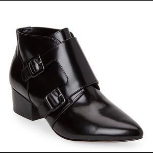 French Connection Roree Blk leather ankle boots 8